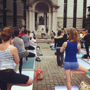 Yoga workshop in Bryant Park
